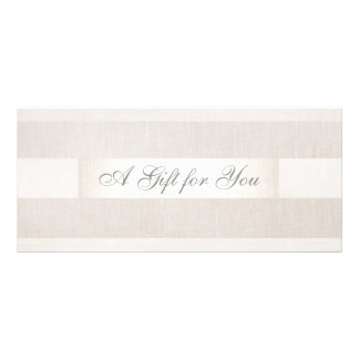 Modern Silver and Linen Gift Cerificate Personalised Rack Card