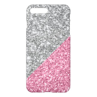 Modern Silver And Pink Glitter Geometric Design iPhone 8 Plus/7 Plus Case