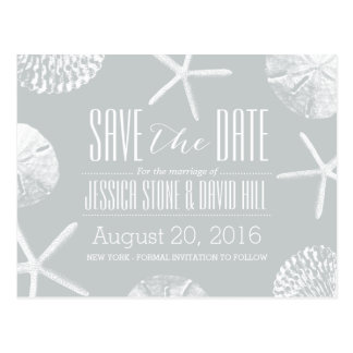 Modern Silver Beach Theme Seashells Save the Date Postcard