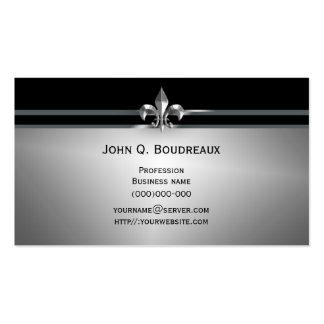 Modern Silver Black Fleur de Lis Business Cards