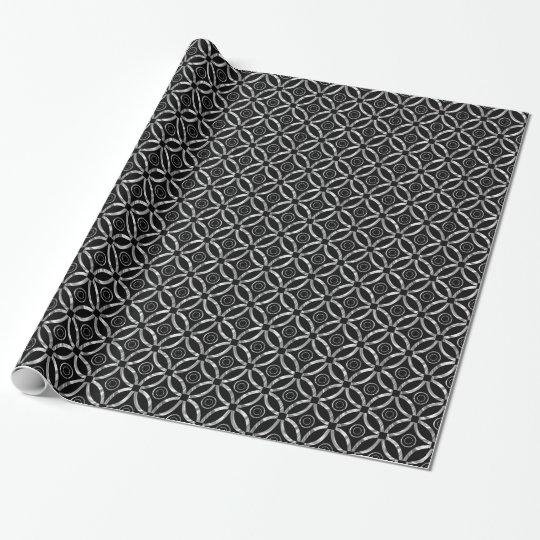 Modern Silver & Black Geometric Pattern Wrapping Paper