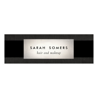 Modern Silver Black Linen Striped Makeup and Hair Pack Of Skinny Business Cards