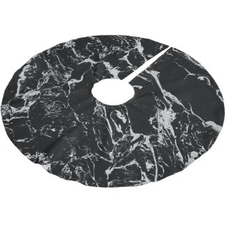 Modern silver black marble pattern brushed polyester tree skirt