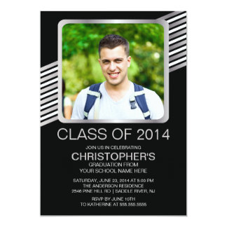 Modern Silver Black Photo Graduation Party Invite