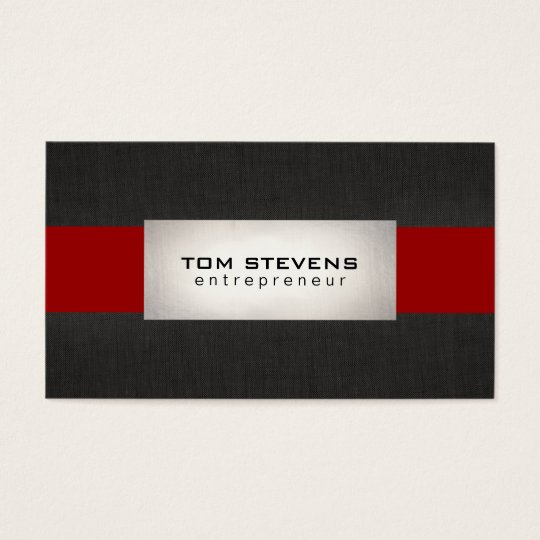 Modern Silver Black Red Striped Business Card