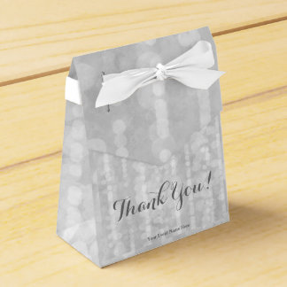 Modern Silver Bokeh Glitter Star Steams Favour Box