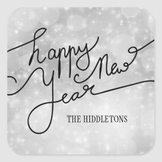 Modern Silver Bokeh Pattern Happy New Year Script Square Sticker