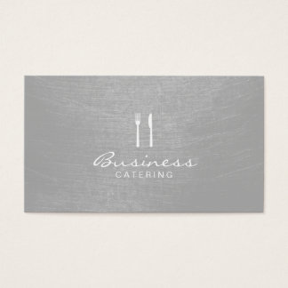 Modern Silver Brushed Texture Catering Business Card