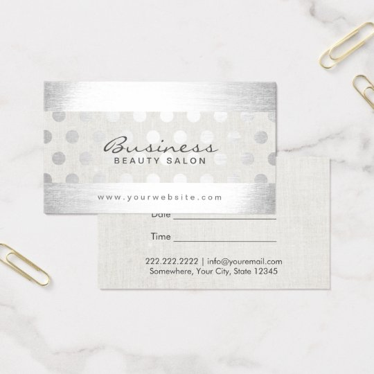 Modern Silver Dots Beauty Salon Appointment Business Card