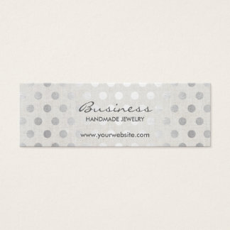 Modern Silver Dots Classy Linen Handmade Jewelry Mini Business Card