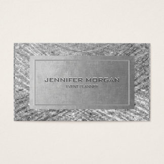 Modern Silver Faux Foil Business Card