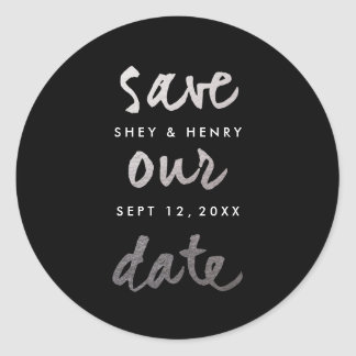 Modern Silver Faux Foil Save the date sticker