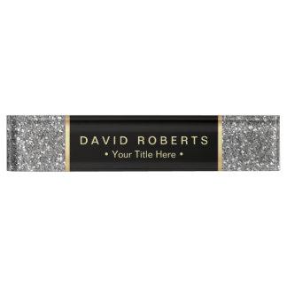 Modern Silver Glitter Elegant Black Label Nameplate
