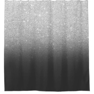 Faux Silver Glitter Ombre Grey Colour Block Shower Curtain