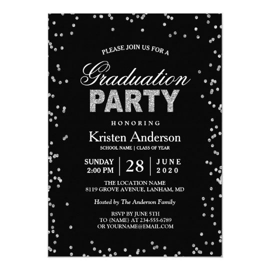 Modern Silver Glitter Sparkles Graduation Party Card