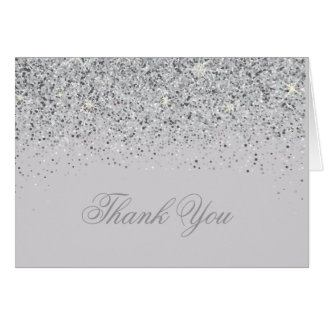 Modern Silver Glitter Thank You Cards