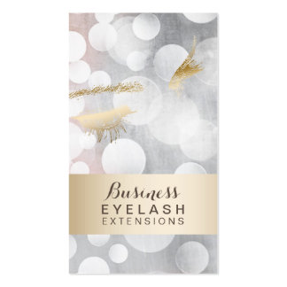 Modern Silver & Gold Eyelash Extensions Pack Of Standard Business Cards