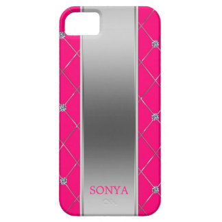 Modern Silver Hot Pink Geometric Shapes Case For The iPhone 5