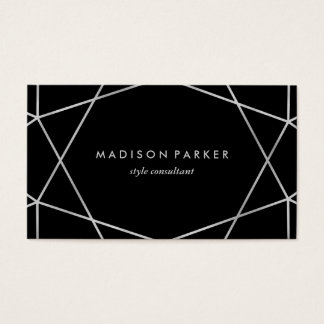Modern Silver Look Geometric on Black Business Card