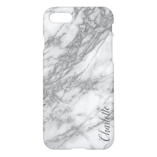 Modern Silver Marble Texture Monogram iPhone 8/7 Case