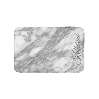 Modern Silver Marble Texture With Your Name Bath Mat