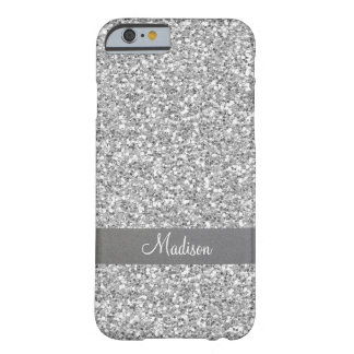 Modern silver metal bling glittering monogram barely there iPhone 6 case