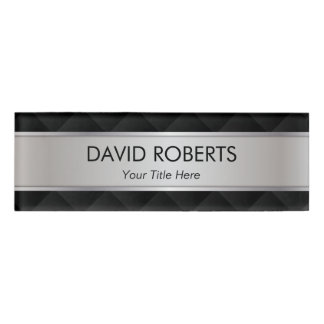 Modern Silver Metallic Striped Professional Name Tag
