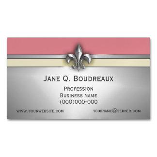 Modern Silver Pink Yellow Fleur de Lis Magnetic Business Card