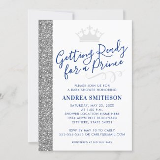Modern Silver Prince Baby Boy Shower Invitation