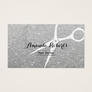Modern Silver Sparkle Hair Stylist Business Card