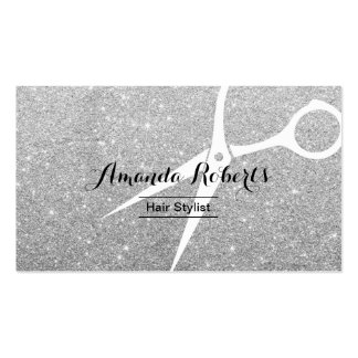 Modern Silver Sparkle Hair Stylist Pack Of Standard Business Cards