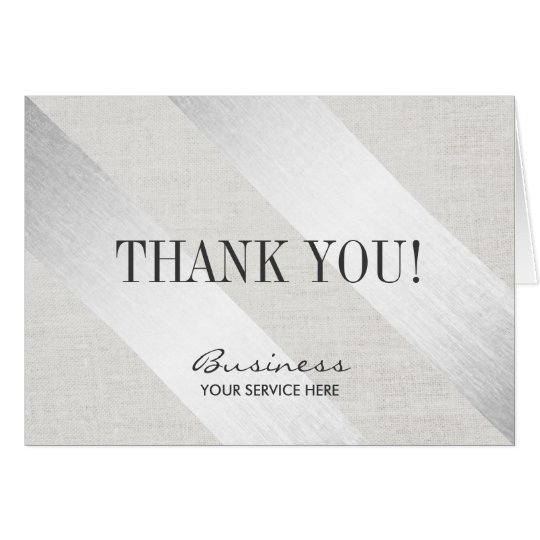 Modern Silver Stripes Salon Spa Business Thank You Card