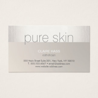 Modern Silver Taupe Esthetician Spa Business Card