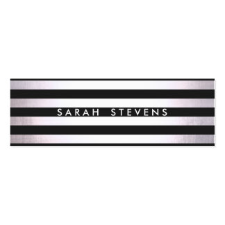 Modern Silver Thin Black Striped Salon and Spa 2 Pack Of Skinny Business Cards