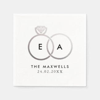 Modern Silver Wedding Rings Cocktail Napkin Disposable Serviettes