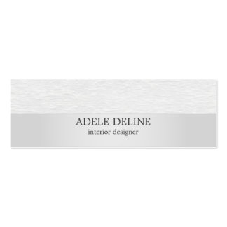 Modern Silver White Texture Interior Designer Double-Sided Mini Business Cards (Pack Of 20)