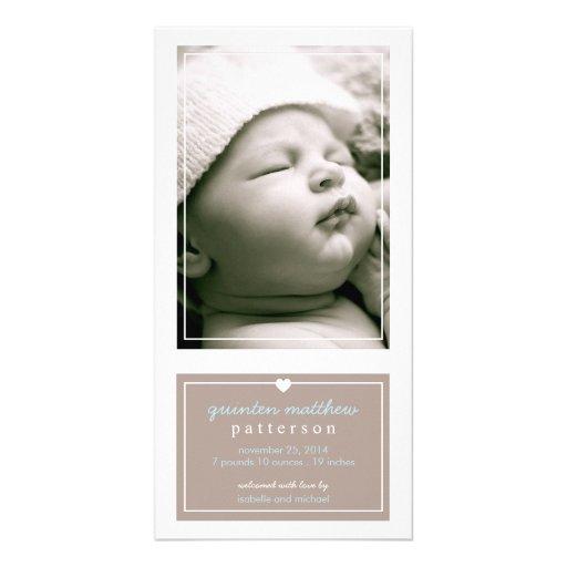 Modern Simple Baby Boy Birth Announcement Tan Custom Photo Card
