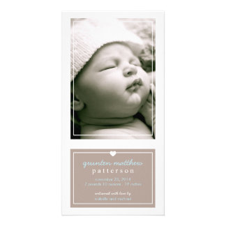 Modern Simple Baby Boy Birth Announcement Tan Picture Card