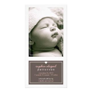 Modern Simple Baby Girl Birth Announcement Brown Card