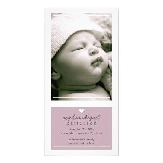 Modern Simple Baby Girl Birth Announcement Purple Card