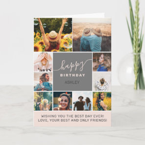 Modern simple birthday pink 10 photo collage grid card