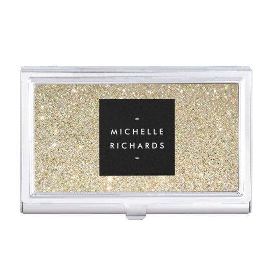 MODERN SIMPLE BLACK BOX GOLD GLITTER Card Holder