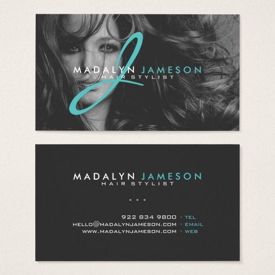 Modern simple black teal hair stylist professional business card