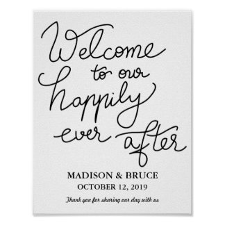 Modern Simple Black Typography Welcome Wedding Poster