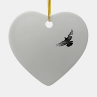 Modern simple black white flying bird pigeon photo ceramic heart decoration