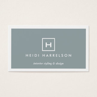 MODERN & SIMPLE BOX LOGO in SLATE BLUE Business Card