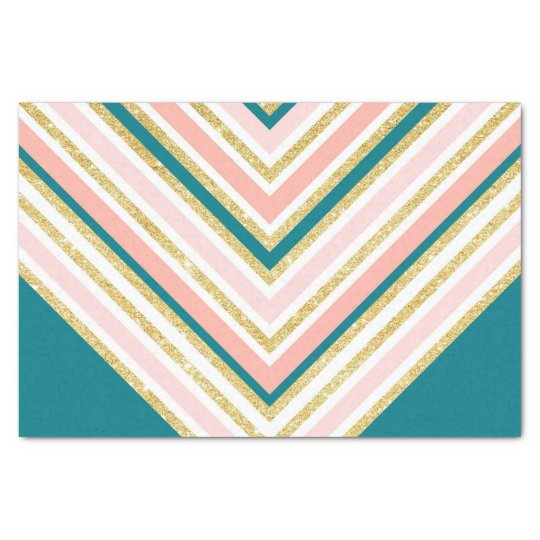Modern simple chevron pink gold jade green tissue