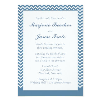Modern Simple Chevron Wedding Invitation Sea Blue