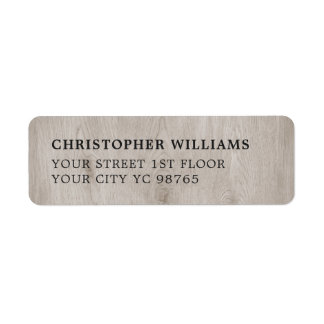 Modern Simple Elegant Wooden Photo Return Address Label
