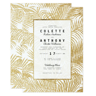 Modern simple faux gold glitter palm tree Wedding Card